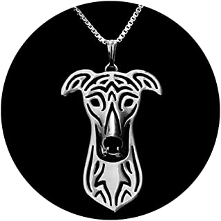 Greyhound Sterling Silver Puppy Dog Pendant Box Chain Necklace Ginger Lyne Collection