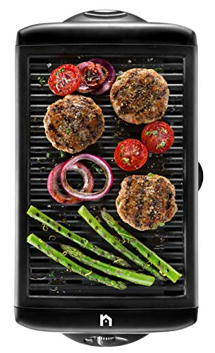 New House Kitchen Electric Smokeless Indoor Grill, Large Non-Stick Cooking Surface, Temperature Control for Smoke-Free BBQing, Dishwasher Safe Removable Water Tray, Portable Kitchen Griddle, Black