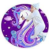 Xingruyun Unicornio Estrellado Morado Alfombras Redondas Antideslizantes para La Habitación De Los Niños Sala De Guardería Sofá Sala De Estar Dormitorio Decoración Moderna 70x70cm