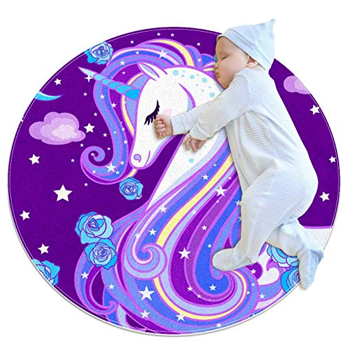 Xingruyun Unicornio Estrellado Morado Alfombras Redondas
