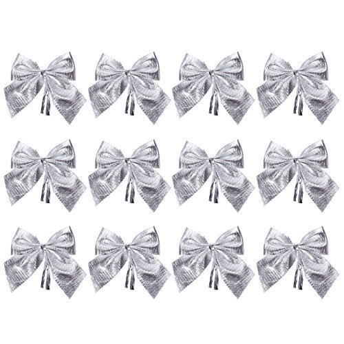 Tinksky 12pcs Weihnachten Glitter Bowknots Weihnachtsbaum Ornamente Anhänger Weihnachten hängen Dekor Schmuck Holiday Home Party Supplies (Silber)