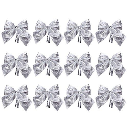 Tinksky 12pcs Weihnachten Glitter Bowknots Weihnachtsbaum Ornamente Anhänger Weihnachten hängen Dekor Schmuck Holiday Home Party Supplies (Silber)