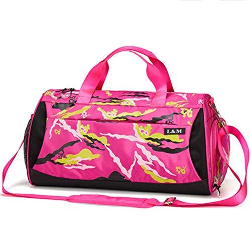 MERRYHE Gym Holdall Carry on Weekend Bagages Duffle Bags Sports Imperméables en Plein Air Top-Handle Bag pour Fitness Yoga Natation avec des Chaussures Compartiment,Rose-50 * 25 * 26CM