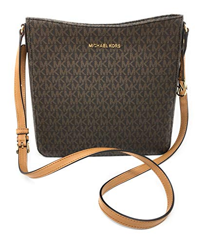 MICHAEL Michael Kors Women's Jet Set Travel Large Messenger & Crossbody Bag in Brown Acorn MK Signature, Style 35F8STVM7B