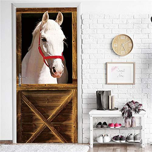 KJKL 3D Door Sticker interior art doors Poster muraldecal Wall Murals stickers White horse animal stable pvc Self Adhesive Door Mural living Room bedroom Office Home Decoration 95x215cm