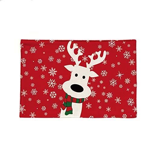 BIGBOBA Navidad manteles Individuales de algodón Ropa de Cama Aislamiento térmico Occidental Comida Estera Mesa...