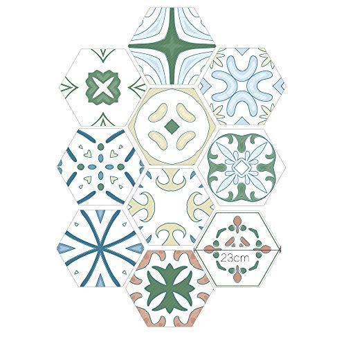 Babody 10 pegatinas hexagonales para pared, PVC impermeable, para azulejos, adhesivos de pared, autoadhesivos, para decoración del hogar, sala de estar, dormitorio, cocina