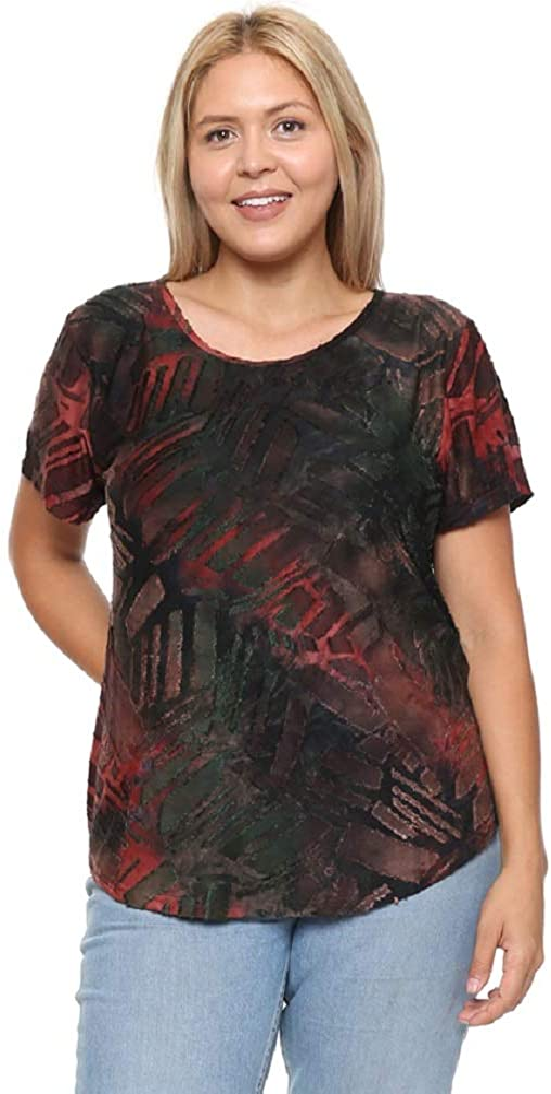 DAMOA Women's T Shirt Top - Plus Size Casual Short Sleeve Crewneck Jacquard Knit Summer Blouse Tee Tshirt