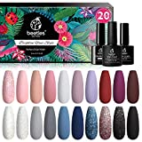 Beetles Vernis Semi Permanent, Lot de Vernis à Ongles Gels 20 Couleurs 5ml avec Base de Vernis et Top Coat Mat et Brillant 7,5ml, Sèche sous Lampe UV/LED DIY Manucure Nude Paillettes Noir Cadeau Femme