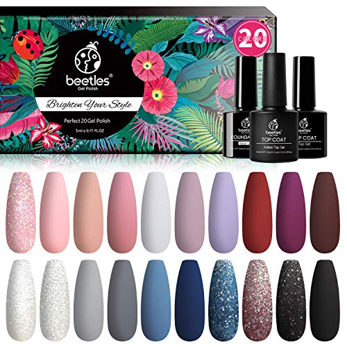 Beetles Gel Nail Polishes- 20 Pcs Gel Nail Polish Set Modern Muse Soak Off Nail Gel Polish Nude Gray Pink Blue Glitter Black Gel Polish Starter Kit with Glossy Matte Top Coat Base Coat Beauty Gifts
