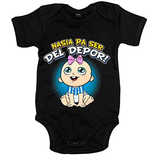 Body bebé nacida para ser del Depor para aficionada al fútbol de la Coruña - Negro, Talla única 12 meses