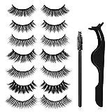 3D falsche Wimpern,7 Arten von falschen Wimpern, Canvalite 3D Falsche Mink Wimpern Set für Make-up Wimpernverlängerung mit Wimpernpinzette und 10 Stk Einweg-Wimpernbürsten