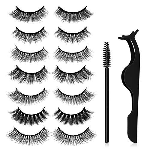 7 Stile falsche Wimpern, Canvalite 3D Falsche Mink Wimpern Set für Make-up Wimpernverlängerung mit dem Wimpernformer und 10 Stk Einweg-Wimpernbürsten