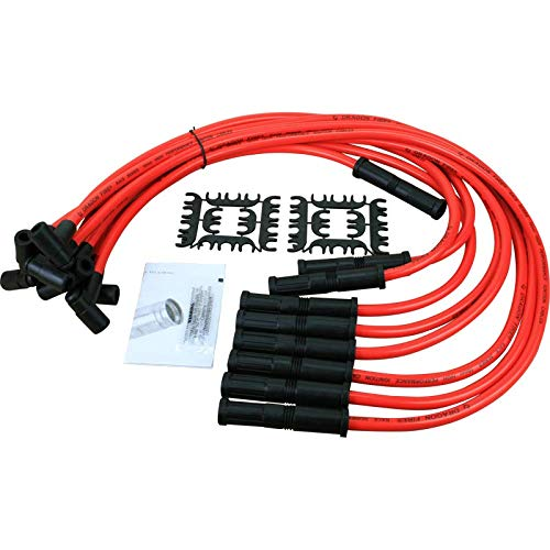 Dragon Fire Race Series High Performance 10.2mm 90 to Straight Boot Ignition Spark Plug Wire Set Compatible Replacement For HEI SBC BBC Oem Fit PW90STR-DF