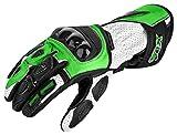 XLS Guantes de piel para moto con protectores en color verde Kawa (XXL)