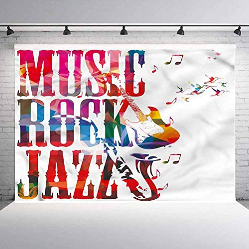 6x6FT Vinyl Wall Photography Backdrop,Musical,Rock Jazz Lettering Background for Baby Birthday Party Wedding Studio Props Photography