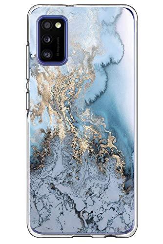 Croazhi Galaxy A41 Hülle Cover Kompatibel mit Samsung Galaxy A41 Hülle Silikon Motiv Transparent Schutzhülle Hüllen Marmor Dünn 360 Grad Bumper Stoßfest Blumen Muster Handyhülle für Galaxy A41 Handy