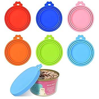 Queta Lot de 6 couvercles de boîte de nourriture pour animaux - Couvercle en silicone - Capuchon de conservation en silicone - Capuchon élastique en conserves de qualité alimentaire - 6 pour un