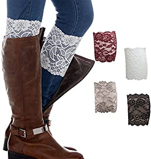 FAYBOX Women Lace Floral Boot Cuffs Leg Warmer Socks Pack of 4