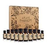 AKARZ Flower Series 10 Sets Essential Oils Jasmine, Rose, Geranium, Lily, Rosemary, Lotus, Chamomile, Honeysuckle, Helichrysum, Cherry Blossom Essential Oil for spa, Body face Care,Aromatherapy