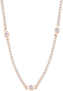 Round Cut White Natural Diamond The Yard Necklace In 14k Solid Gold (0.62 cttw)