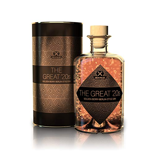 The Great '20s Golden-Berry Berlin-Style Gin 37.5% (1 x 0.5 l) - Feinster Gin mit 23 Karat reinem Blattgold und edler Geschenkverpackung - Mit einem Hauch Beeren