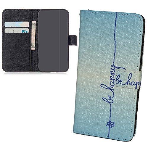 König Design Handyhülle Kompatibel mit Wiko Ridge 4G Handytasche Schutzhülle Tasche Flip Hülle mit Kreditkartenfächern - Be Happy Blau