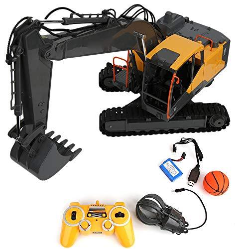 T best RC Excavadora, 1:18 Simulación 2.4GHz Excavadora de Control Remoto Modelo Niños Niños Carga USB Ingeniería Vehículo Juguete(1:18)