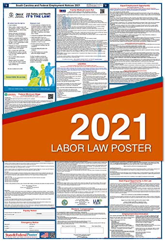 """2021 South Carolina Labor Law Posters (Laminated) Combo State and Federal Poster - 27"""" x 40"""" SC2"""