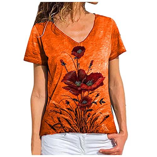 FOTBIMK Camiseta de mujer básica de gran tamaño de manga corta camiseta de verano de la moda de la flor de impresión V-cuello T-shirt S-5XL