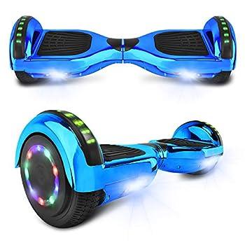 cho Electric Hoverboard Smart Self Balancing Scooter Hover Board Built-in Speaker LED Wheels Side Lights for Kids- Safety Certified  -Chrome Blue