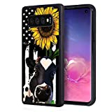 Galaxy S10 Plus Case, BWOOLL Slim Anti-Scratch Rubber Protective Case Cover for Samsung Galaxy S10 Plus (2019) 6.4 inch - American Flag Sunflower and Cow