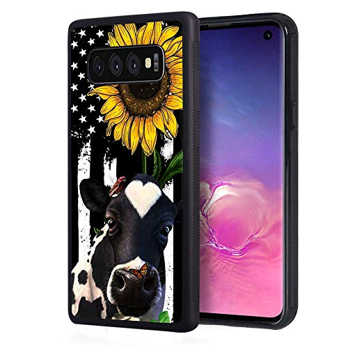 Galaxy S10e Case, BWOOLL Slim Anti-Scratch Rubber Protective Case Cover for Samsung Galaxy S10e (2019) 5.8 inch - American Flag Sunflower and Cow