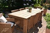Bomey - Juego de mesa y 8 sillas para jardín (ratán y madera de teca, 240 x 100 cm)