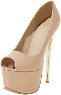 SJJH Stiletto Court Shoes with Thin Heel and Peep Toe for Women