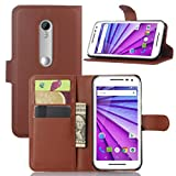 Moto G 3rd Gen Case, Moto G3 Case, Fettion Premium PU Leather Wallet Flip Phone Protective Case Cover with Card Slots for Motorola Moto G (3rd Generation) / G3 Smartphone (Brown)