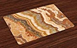 onepicebest - Juego de 4 manteles individuales de mármol, diseño de mármol de ónix con textura de tinta mineral travertino con textura y textura, tela lavable para comedor o cocina, decoración de mesa