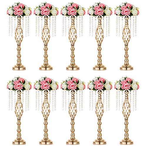 NUPTIO 10 Pcs Crystal Flower Stand Wedding Centerpieces for Tables, 21.7in/55cm Tall Elegant Metal Flower Arrangement Stand, Tabletop Metal Flower Vase for Wedding Party Dinner Event Hotel Home Decor