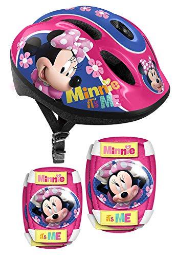 Minnie Mouse Kinder Fahrrad Helm + Protektoren Ellenbogen Knie Schützer Schoner Disney