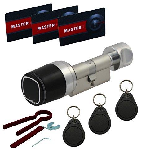 ISEO Libra Smart Starter-Paket mit elektronischem Doppelzylinder A:30/I:30, Batterie, Masterkarten-Set, 3 Transpondern und Montagewerkeug - alle Längen von 30/30 bis 60/60 verfügbar