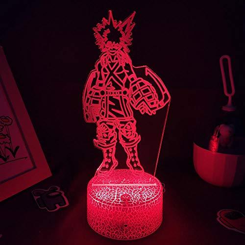 Lámpara de ilusión 3D Luz de noche LED Anime My Hero Academia Figura de lava Katsuki Bakugo Rgb Regalos de cumpleaños para amigos Manga Decoración para niños Niños Niñas
