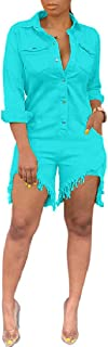 ThusFar Women's Sexy Ripped Distressed Button Down Denim Shirt Jeans Shorts Pants Romper Jumpsuit Overalls with Pockets