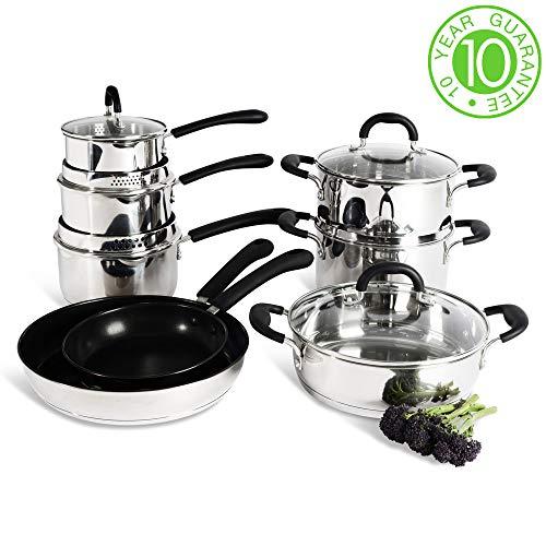 ProCook Gourmet Steel - Utensilios de cocina de inducción - 8 piezas - Sartenes ...