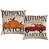 ULOVE LOVE YOURSELF 2pack Pumpkin Patch Throw Pillow Covers Autumn Harvest with Vintage Red Truck Farmhouse Decorative Cushion Covers Pillowcases,18×18 Inches