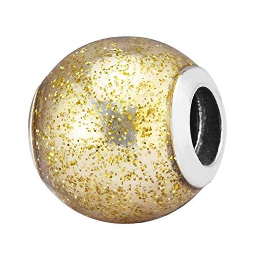 Joyería De Plata De Ley 925 para Mujer Abalorios De Bola con Purpurina Dorada Se Ajustan A Pulseras Pandora Europeas Collares Fabricación De Joyas DIY
