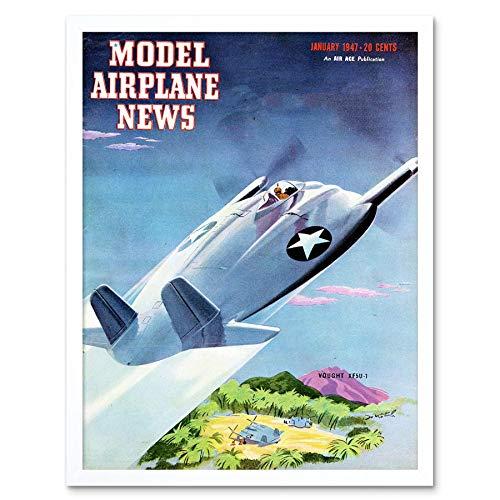 Wee Blauwe Coo Advert Magazine Cover Model Vliegtuig S Toekomstige Ontwerp Eiland Art Print Ingelijste Poster Muurdecoratie 12X16 Inch