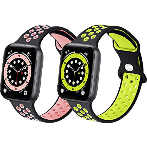 Sport Silicone Bands Compatible with Apple Watch Band 44mm 42mm 40mm 38mm, 2 Pack Soft Breathable Silicone Bands for Men Women Compatible for iWatch Series 6/5/4/3/2/1 SE
