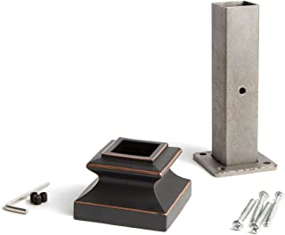Oil Rubbed Copper 16.2.3 Newel Mounting Kit for 1-3/16 inch Square Iron Newel Posts for Stair Remodeling