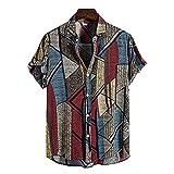 JJZSL Camisa Étnica De Verano Para Los Hombres Sueltos Vintage Manga Corta Casual Imprimir Camisa Blusa Vestido Camisas Ropa De Los Hombres (Color : A, Size : XXXL code)