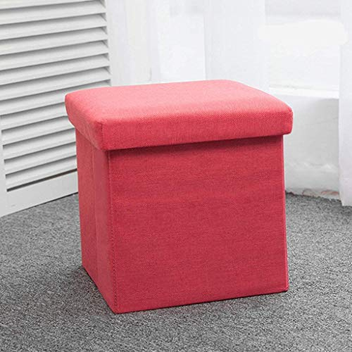 MJMJ Upholstered Footstool Foot Stool Folding Storage Ottoman Chest,Storage Box Seat Cube Single Seat Bench with Removable Linen Fabric Lid Foot Rest Storage Footstool(Color:Red)